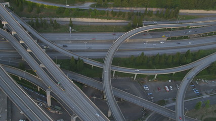 Aerial dusk view Interchange  Interstate 90, Seattle City, USA