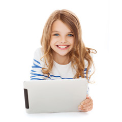 smiling student girl with tablet pc computer
