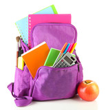 Fototapety Purple backpack with school supplies isolated on white