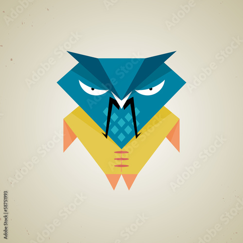 Cute little blue and yellow cartoon samurai owl