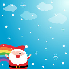Santa Claus in the sky with rainbow
