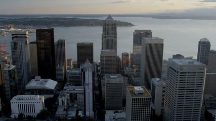 Aerial sunset view 2 Union Square Skyscraper, Seattle, USA