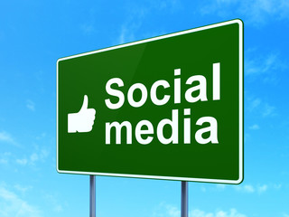 Social network concept: Social Media and Thumb Up on sign