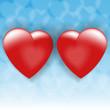 два любящих сердца на синем небе