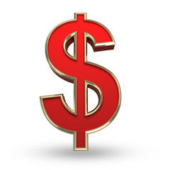 Red dollar on white isolated with clipping path.