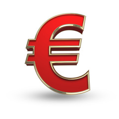 Red euro sign on white isolated with clipping path.