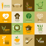 Fototapety Collection of vegetarian and organic icons