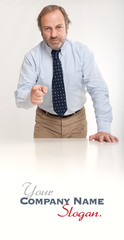 Serious businessman pointing his finger