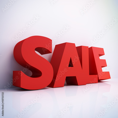 Big Red sale word - computer generated 3D render