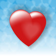 любящее сердце на синем небе
