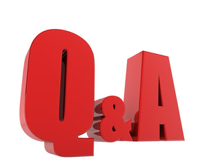 Question and answer abbreviation isolated on white background.