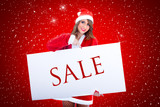 Santa Claus Woman With Sale Billboard