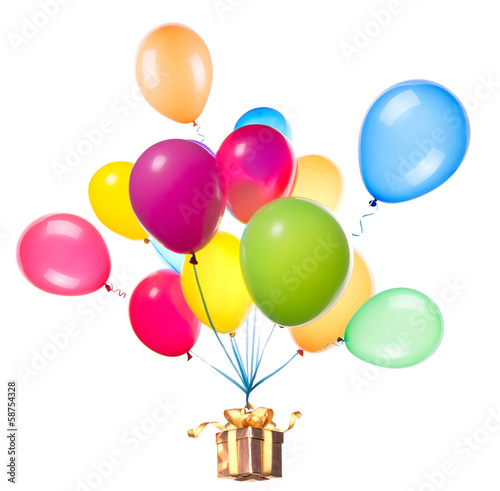 gift hanging on color balloons