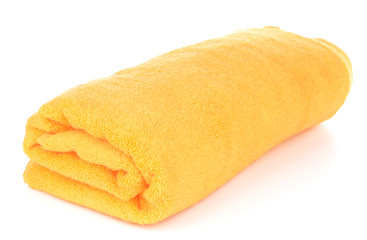Yellow towel isolated on white