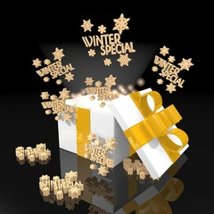 noble christmas present with winter special symbol