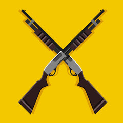 Vector Crossed Pump-Action Shotguns Icon