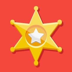 Vector Golden Sheriff Star Icon