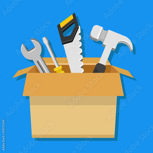 Vector Carton Box with Working Tools Icon