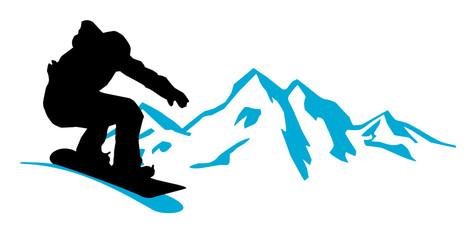 Snowboarder in den Bergen