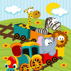 animals by train - vector illustration