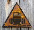 Printer Icon on Weathered Warning Sign.