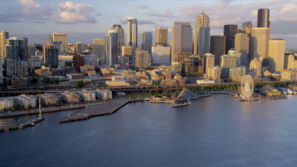 Aerial sunset view Waterfront Park Downtown Seattle, USA