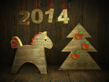 card by new year of a wooden horse 2014