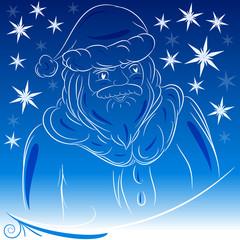 Babbo Natale sfondo blu neve