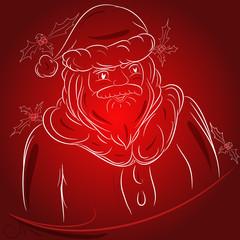Babbo Natale disegno sfondo rosso