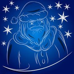 Babbo Natale disegno sfondo blu