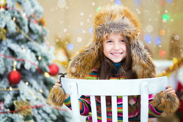 Happy Christmas - Little girl and Christmas tree