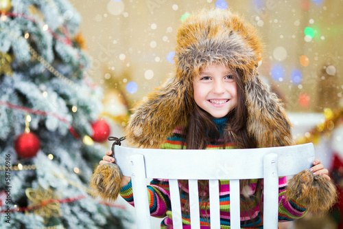 Happy Christmas - Little girl and Christmas tree