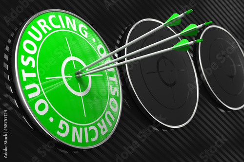 Outsourcing Concept on Green Target.