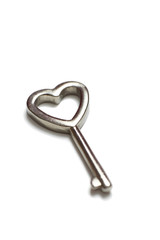 Heart shaped key isolated