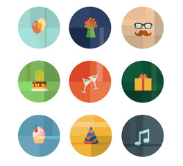 Collection of Nine Vector Birthday Party Icons