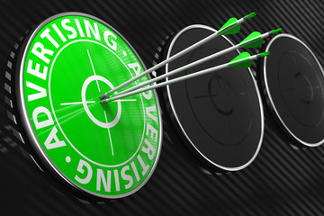 Advertising Concept on Green Target.