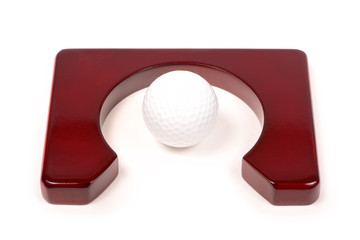 Golf Ball and Club isolated on white background