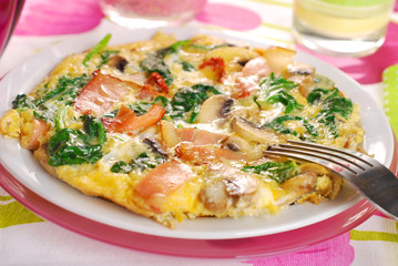 spinach frittata with mushroom,ham and dried tomato