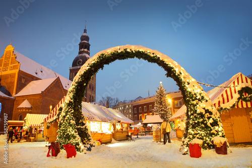 Leinwanddruck Bild Christmas Riga