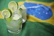 Two Fresh Lime Caipirinhas Brazilian Flag - 58760184
