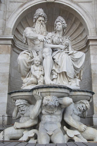 Neptune Fountain of Albertina museum in Wien,  Austria