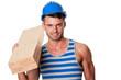 smiling carpenter holding planks