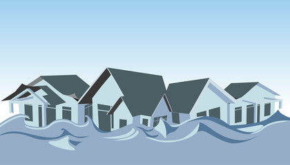 Flooded homes - Illustration