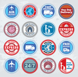 Collection of round delivery badges. EPS8.