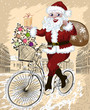 happy Santa Claus with Christmas tree and gifts riding bike