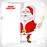 Cute Santa Claus holding banner and sparkler