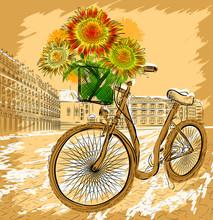 Carte postale de Noël avec la bicyclette et de tournesol