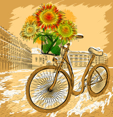Christmas postcard with bicycle and sunflowers