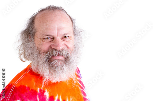 Happy, Friendly Baby Boomer Looking at you with his Tie Dye T-Sh