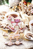 Gingerbread horse and cup tea